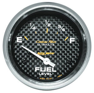 1964-73 LeMans Gauges, Carbon Fiber Series Fuel Level (0 Empty/90 Full), by Autometer