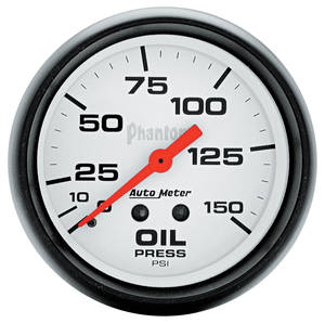 "Gauge, Phantom Series (2-5/8"" Oil Pressure - 0-150 PSI) with 6-Foot Tubing"