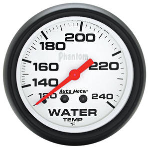 "1954-1976 Cadillac Gauge, Phantom Series (2-5/8"" Water Temperature - 120°-240° F) with 6-Foot Tubing & Fittings, by Autometer"