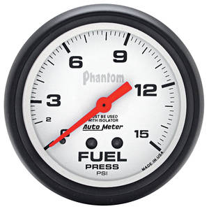 "Gauges, Phantom Series 2-5/8"" Fuel Pressure w/Isolator (0-15 Psi)"