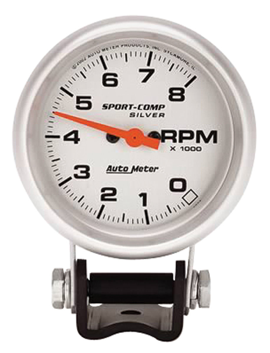 "Photo of Tachometer, Sport-Comp 2-5/8"" silver face (8,000 rpm)"