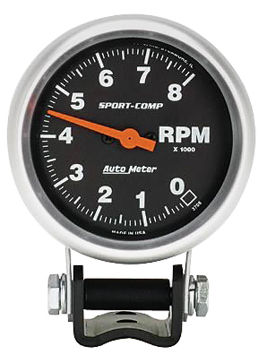 "Photo of Tachometer, Sport-Comp 2-5/8"" Black Face (8,000 RPM)"