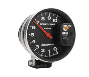 "1961-73 GTO Products Sport Comp 5"" Tach w/Shift Light on Control (10,000 Rpm)"
