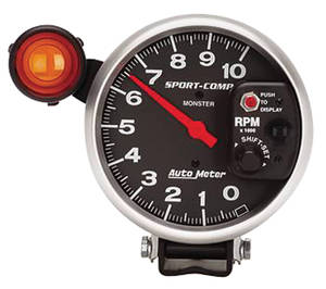 "1959-1976 Catalina Tachometer, Sport-Comp 5"" w/Exterior Shift Light (10,000 Rpm), by Autometer"