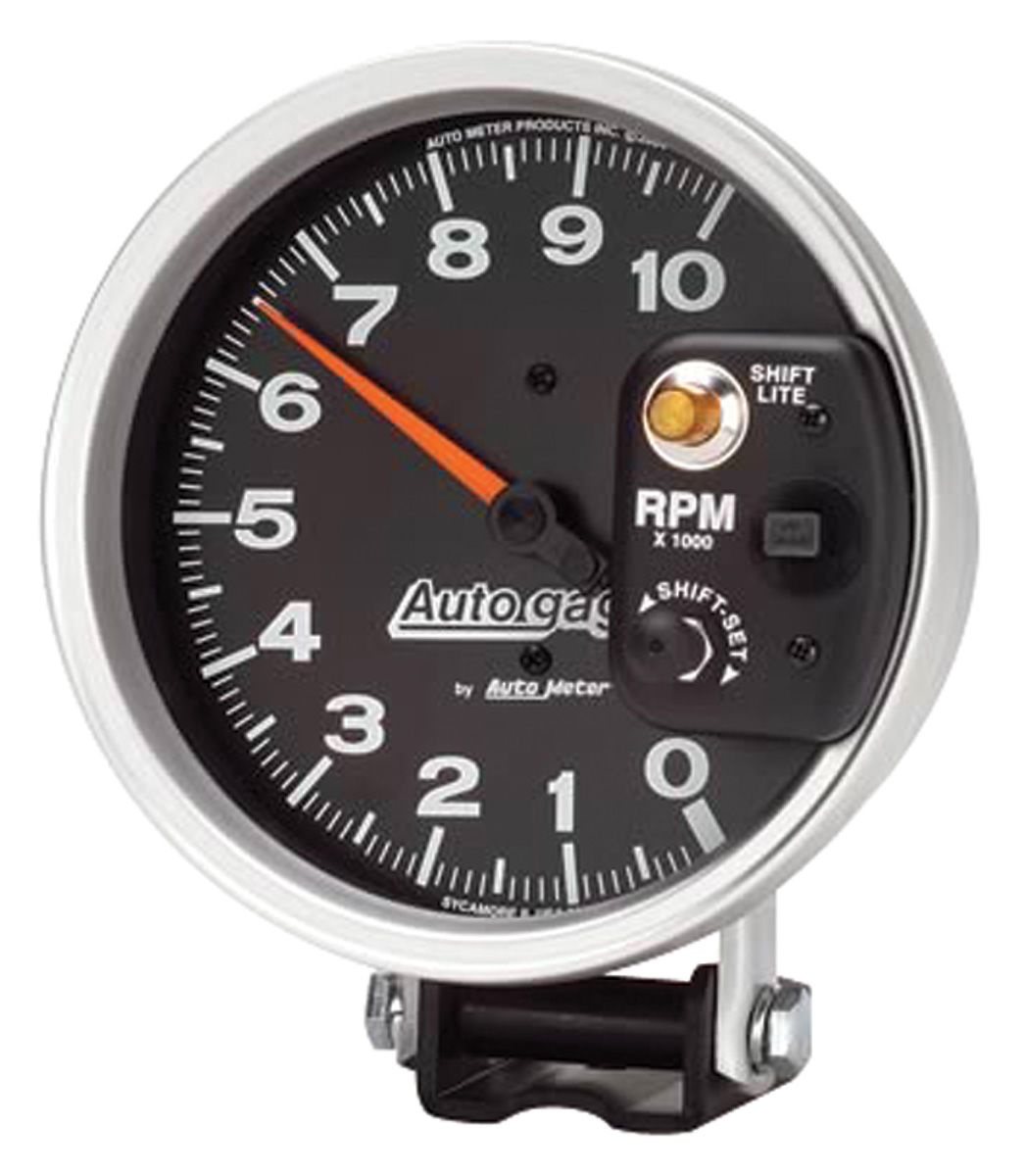 "Photo of Tachometer, Autogage 5"" Monster Shift-Lite shift light on shield (10,000 rpm)"
