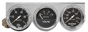 "Gauge, Autogage 2-5/8"" Black Chrome Bezel with White Face, by Autometer"