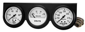 "Gauge Trio, Autogage 2-5/8"" White Black, by Autometer"
