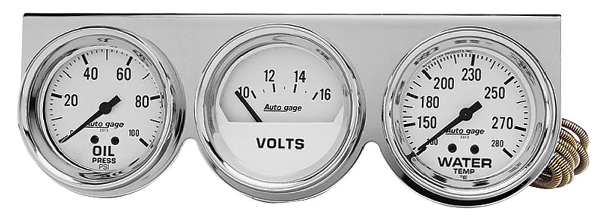 "Photo of Gauge, Autogage 2-5/8"" Black Chrome Bezel with white face"