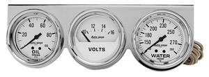 "Gauge Trio, Autogage 2-5/8"" White Chrome"