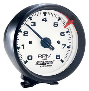 "Tachometer, Autogage 3-3/4"" White Face Black Housing"