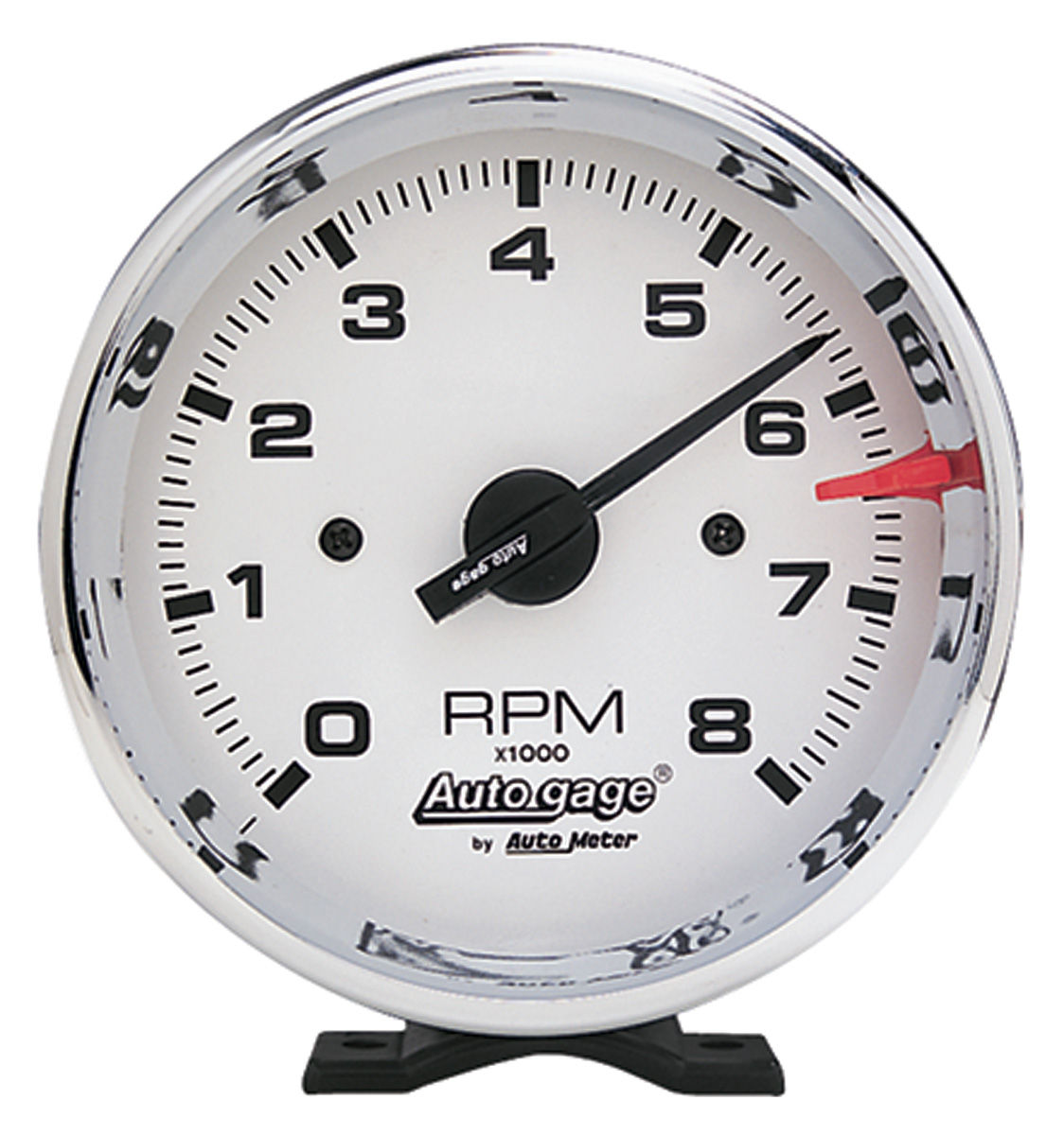 "Photo of Tachometer, Autogage 3-3/4"" White Face with Chrome Housing"