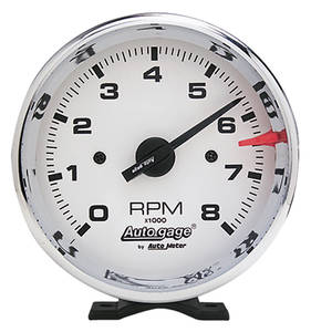 "Tachometer, Autogage 3-3/4"" Chrome w/White Face"
