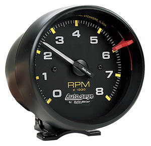 "Tachometer, Autogage 3-3/4"" Black Mounting Cup w/Black Face"