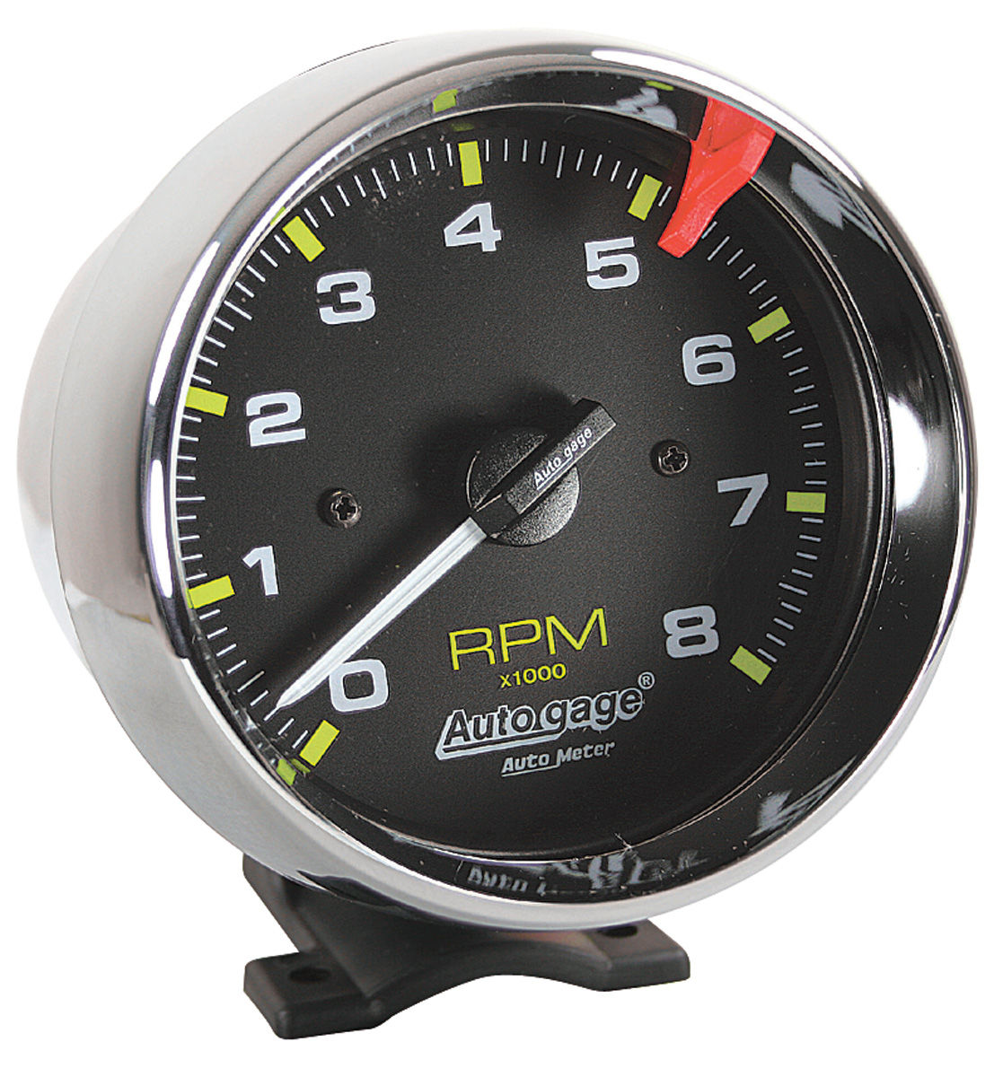 "Photo of Tachometer, Autogage 3-3/4"" Black Face chrome housing"