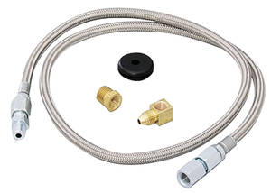 "1964-1977 Chevelle Gauge Accessory - Braided Stainless Steel Hoses (3-Ft., 3/16"" ID Fittings), by Autometer"