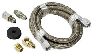 "1964-1977 Chevelle Gauge Accessory - Braided Stainless Steel Hoses (6-Ft., 3/16"" ID Fittings), by Autometer"