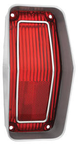 Cutlass Tail Lamp Lens, 1970 Cut/Supreme Red w/Stainless Trim