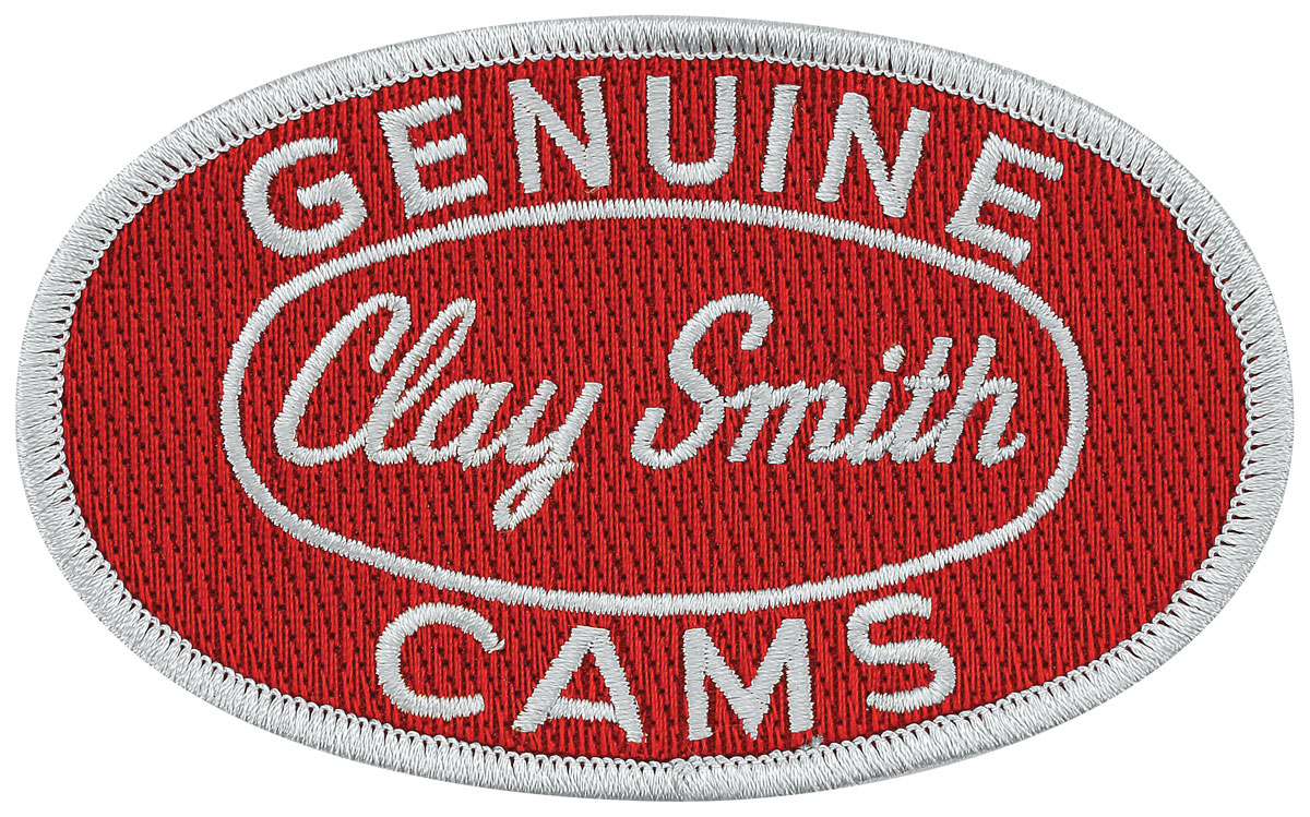 """Photo of Clay Smith Embroidered Patch 4"""" x 2-1/2"""" red w/silver"""