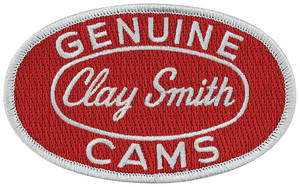 "Clay Smith Embroidered Patch 4"" X 2-1/2"" Red w/Silver"
