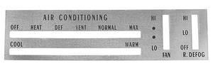 1970 Cutlass Dash Faceplate Ac Control (w/Rear Defrost)