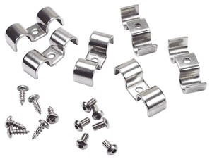 "1964-77 Chevelle Line Clamps, Stainless Steel Double-Tube 1/4"" X 1/4"""