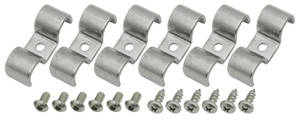 "1961-72 Skylark Line Clamps, Stainless Steel Double-Tube 1/2"" X 1/2"""