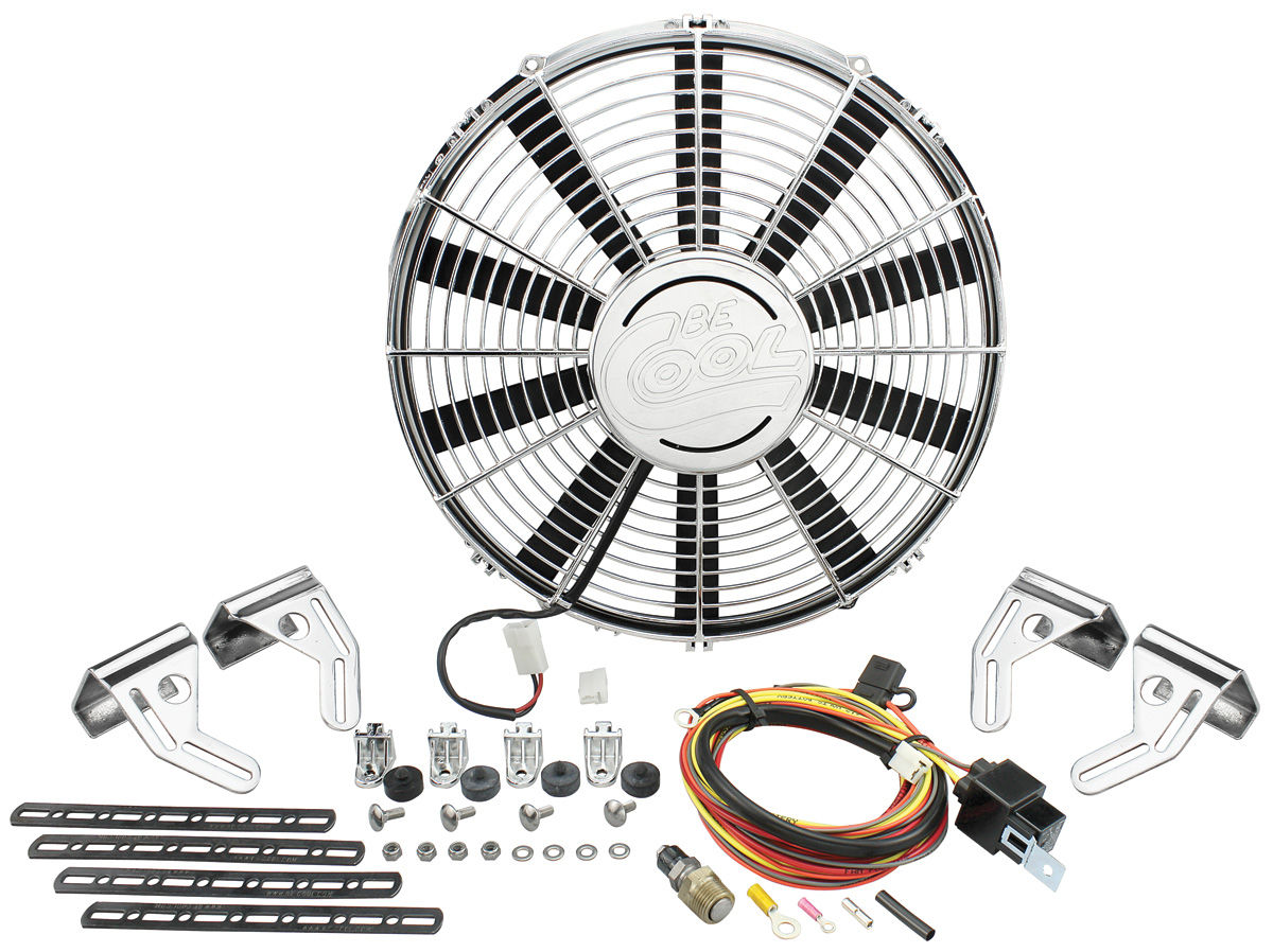 "Photo of Electric Fan Module Assembly 2360 CFM - 16"" single chrome"