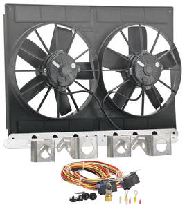"1961-1973 LeMans Electric Fan Module Assembly 11"" Dual Puller (2780 Cfm) Black, by Be Cool"
