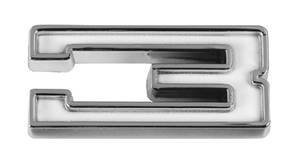"1961-73 LeMans Emblem: By The Number White ""3"""