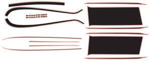 Cutlass/442 Body Stripe/Decal Kit, 1970 Oldsmobile Rallye 350 Orange/Black