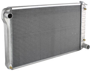 "1966-71 Cutlass Radiator, Aluminum Desert Cooler Satin - 18-1/4"" X 28-1/4"" (Lower Hose 1-3/4"") AT, Cross Flow, by U.S. Radiator"
