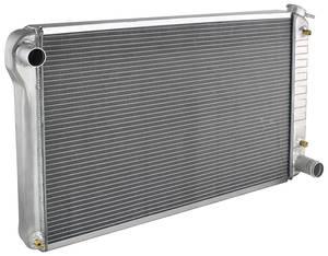 """1966-71 Cutlass Radiator, Aluminum Desert Cooler Satin - 18-1/4"""" X 28-1/4"""" (Lower Hose 1-3/4"""") AT, Cross Flow"""