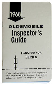 1968-1968 Cutlass Line Inspector Guide Book, Oldsmobile