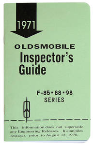 1971-1971 Cutlass Line Inspector Guide Book, Oldsmobile