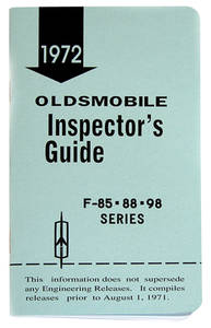 1972 Cutlass Line Inspector Guide Book, Oldsmobile