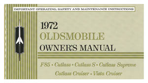 1972 Cutlass Authentic Owner's Manuals