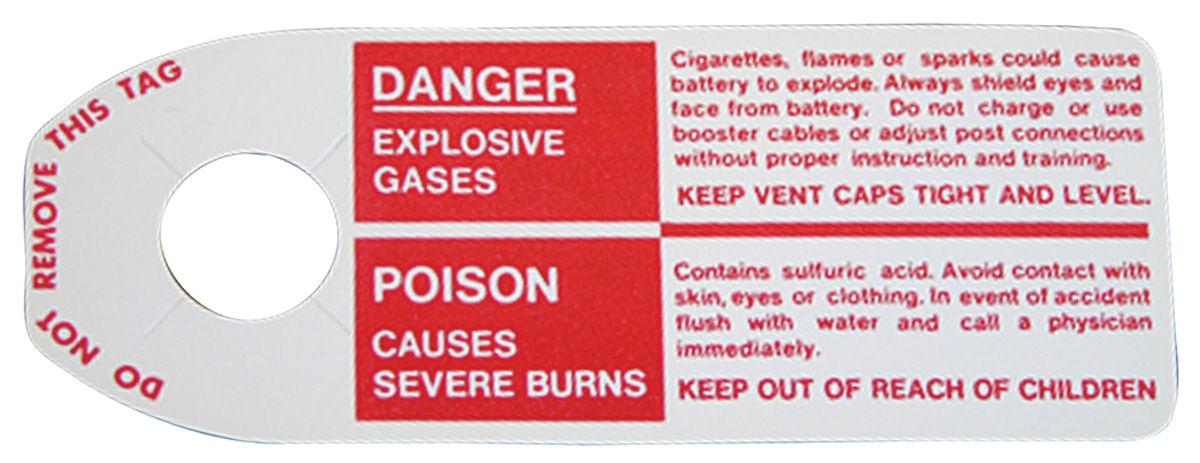 Photo of Bonneville Battery Warning Tag, Negative Post
