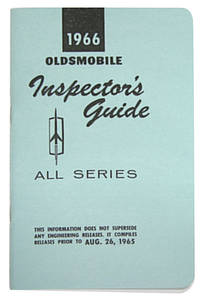 1966-1966 Cutlass Line Inspector Guide Book, Oldsmobile