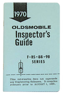 1970 Cutlass Line Inspector Guide Book, Oldsmobile