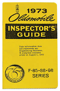 1973 Cutlass Line Inspector Guide Book, Oldsmobile