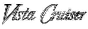 """Cutlass Tailgate Emblem, 1970-72 """"Vista Cruiser"""" (Script)"""
