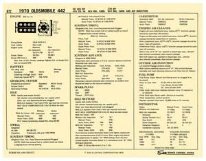 1970-1970 Cutlass Factory Tune-Up Cards 4-4-2, 365/455 4-BBL