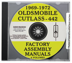 1969-1972 Cutlass Factory Assembly Manuals, CD-ROM Cutlass/4-4-2