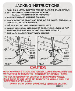 1973 Cutlass Trunk Decal - Jacking Instruction (#413875)