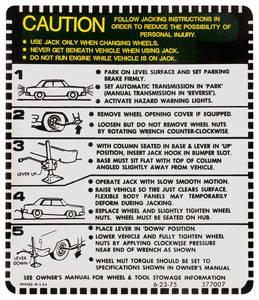1975-1977 Cutlass Trunk Decal - Jacking Instruction Exc. Convertible/Wagon