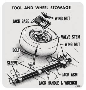 1973-77 Cutlass Trunk Decal - Tire Stowage w/Standard Wheels (#413984)