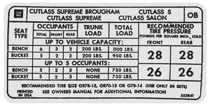 "1973 Cutlass Tire Pressure Decal ""OB"" (#553841)"