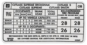 """1973 Cutlass Tire Pressure Decal """"OB"""" (#553841)"""