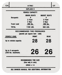 "1973 Cutlass Tire Pressure Decal ""OT"" (#417063)"