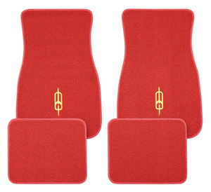 1961-77 Cutlass Floor Mats, Carpet Matched Oem Style Rocket Emblem, by ACC